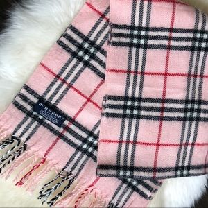 Pink Burberry cashmere plaid scarf great condition